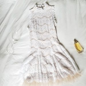 Francesca's Tulle and Lace High Neck Dress